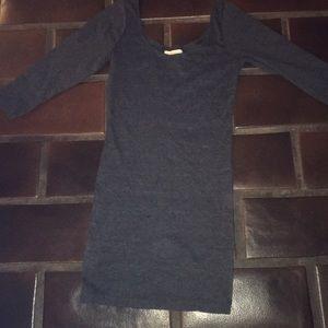 Dark grey scoop neck fitted dress